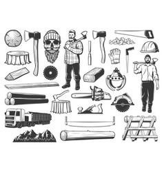 Lumberjack lumbering and logging wood icons vector