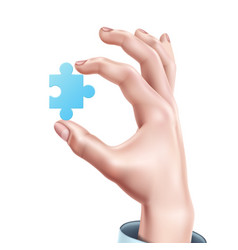 man hand holding blue puzzle realistic vector image