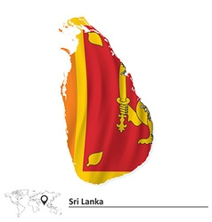 Map of Sri Lanka with flag vector image