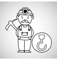 Mine worker pickaxe with hook tool vector