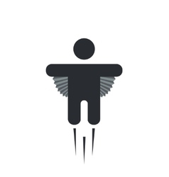Modern flying man icon on white vector