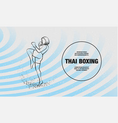 muay thai boxing fighter woman kick knee vector image