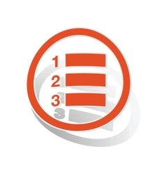 Numbered list sign sticker orange vector
