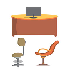 office chair and desk flat design vector image