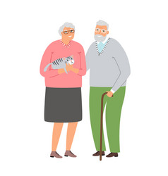 old couple with cat vector image