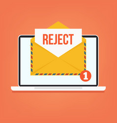 Open envelop with reject red word email vector