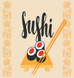 Oriental banner with sushi on the tray and sticks vector
