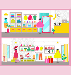 Pair of colorful cards with bright clothes shops vector