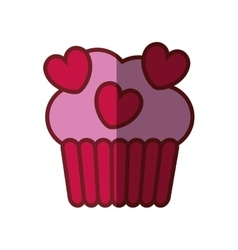 pink cup cake hearts valentine day party vector image