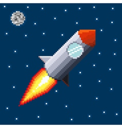Pixel rocket in space vector image vector image
