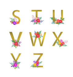 poster with golden letters s t u v w x y z vector image