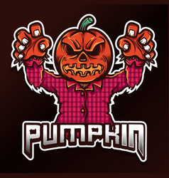 Pumpkin halloween esport logo vector