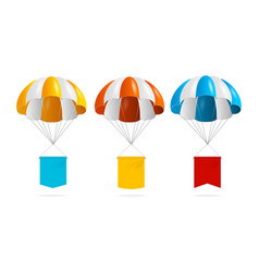 realistic detailed 3d color parachute and banner vector image