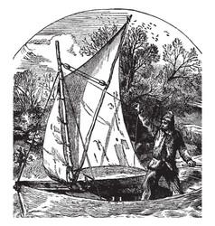 robinson cruising in his boat vintage vector image