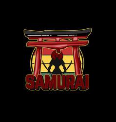 Samurai japan silhouette design vector