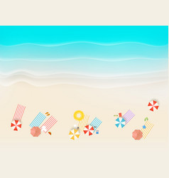 Sandy beach with different accessories top view vector