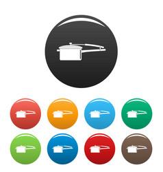 saucepan icons set color vector image