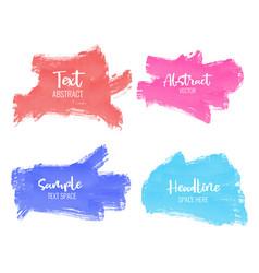set colorful paint brush stroke vector image