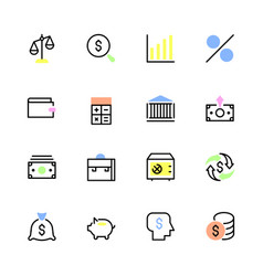 set of financial icons in a linear style vector image