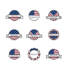 Set of stamps with USA flags vector