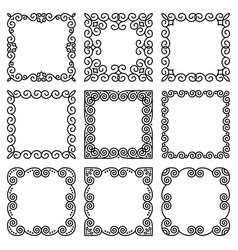 Set square frames in oriental style beautiful vector