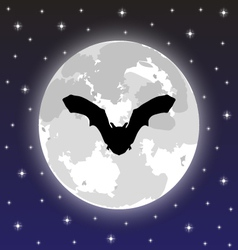 silhouette bat on background full moon vector image