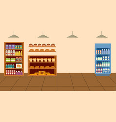supermarket grocery store interior cartoon with vector image