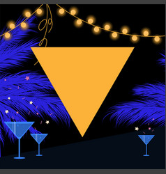 Synthwave summer party card with triangle garland vector