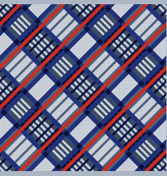 tartan seamless diagonal texture in blue red and vector image