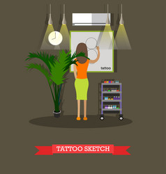 Tattoo sketch concept in flat vector