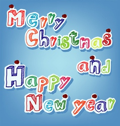 text of merry christmas with pin vector image