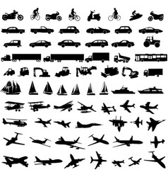 transportation silhouettes collection vector image