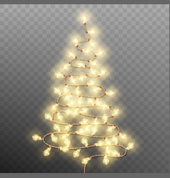 Tree formed garland lights on transparent vector