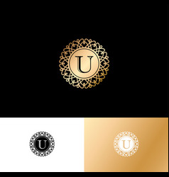 U gold letter monogram gold circle lace ornament vector