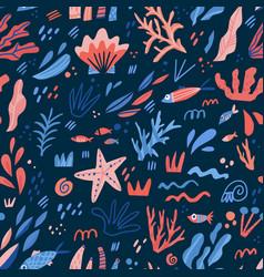 underwater world flat hand drawn seamless pattern vector image