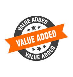 Value added sign value added orange-black round vector