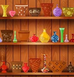 Vases and art flower pots on wooden shelves for vector