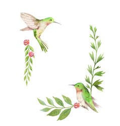 Watercolor card green leaves hummingbird vector