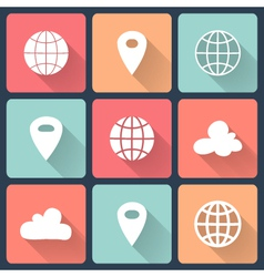 White map pin flat icons vector