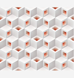 white red cubes isometric seamless pattern vector image