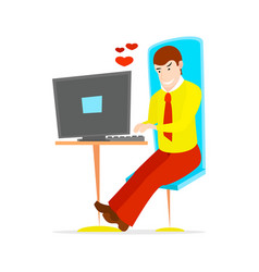 young handsome businessman is sitting vector image
