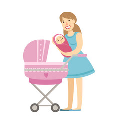Young mom putting baby in the stroller vector