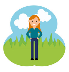 young woman in landscape vector image
