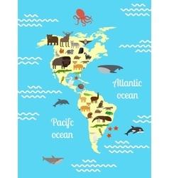 America animals world map for children vector image