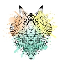 Black and white animal Cat head watercolor vector image