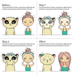 Cute facial treatment instruction girl and panda vector