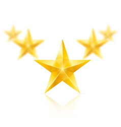 Five gold stars in the shape of wedge vector image vector image