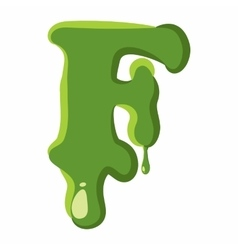 Letter F made of green slime vector image