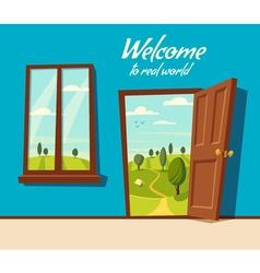 Open door Valley landscape Cartoon vector image vector image
