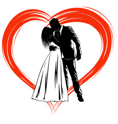 silhouettes of kissing bride and groom on the vector image vector image